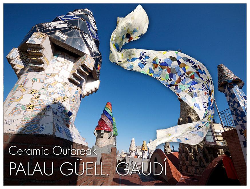 Mosaic silk scarf trencadís inspired by Palau Güell - Daba Disseny Barcelona