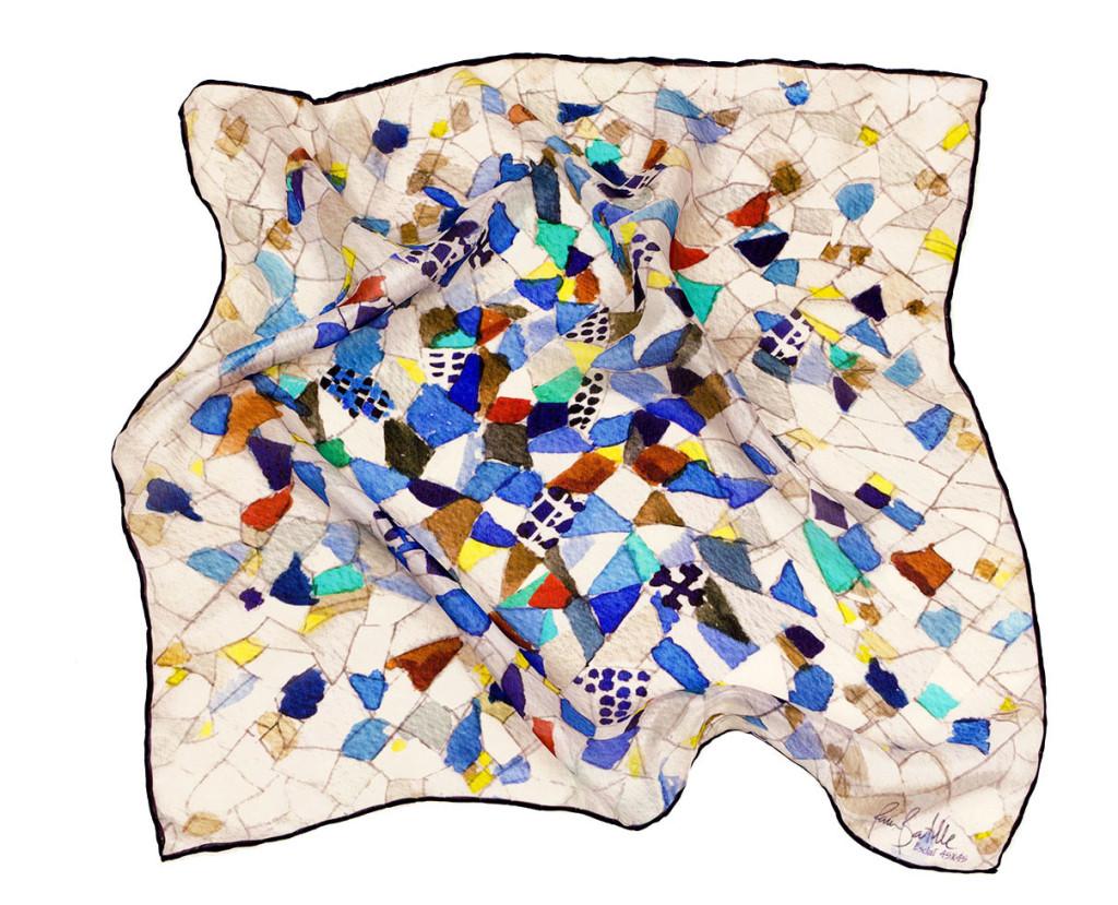 Textil design for a mosaic silk scarf trencadís gaudí - Daba Disseny Barcelona