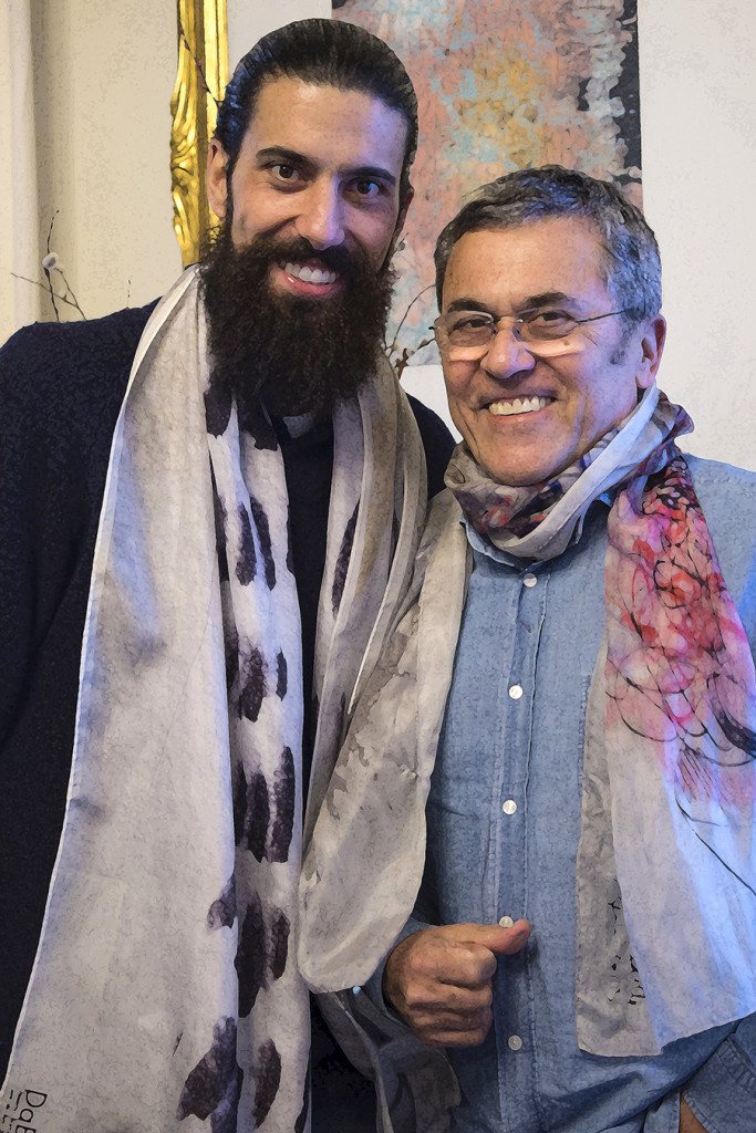 Artist and designer, Pau Batlle, with Dani. Both, creators of Daba Disseny Barcelona we are Art in Silk