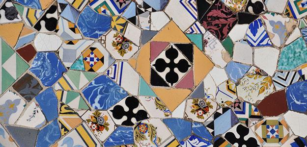 Ceramic burst Trencadís - Inspiration source for the mosaic silk scarf design of Palau Guell Palau Güell - Daba Disseny Barcelona
