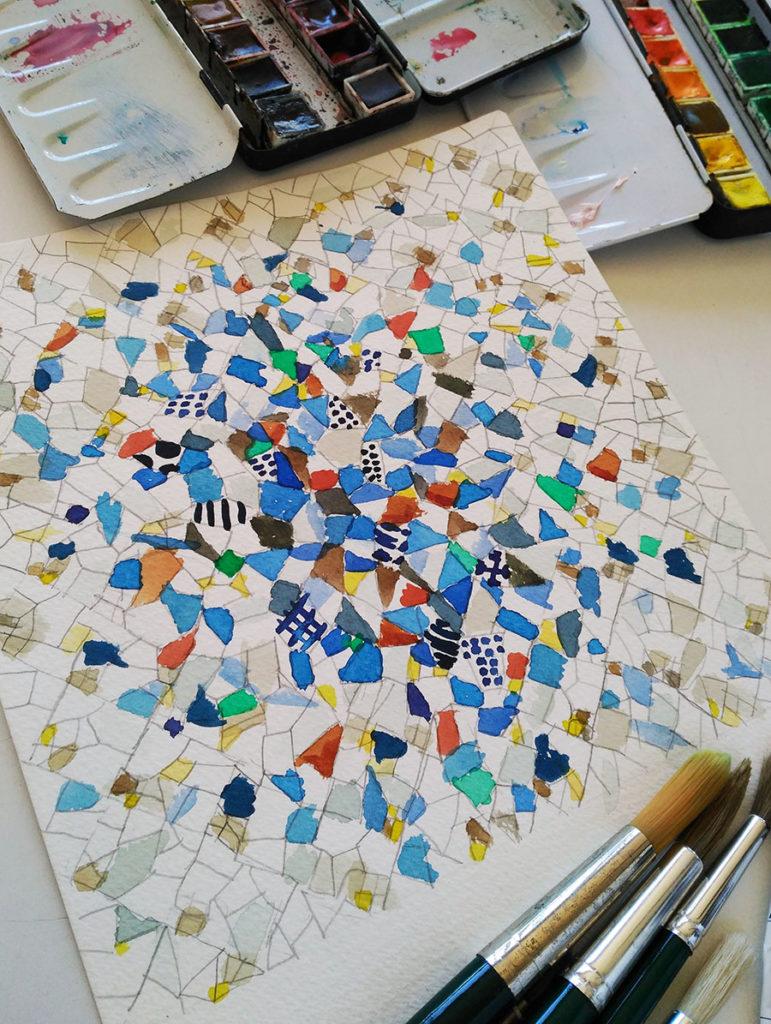 Trencadis watercolor Gaudí - Design for the mosaic silk scarf Palau Guell - Daba Disseny Barcelona