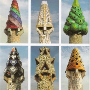 Palau Güell's chimneys - Gaudí inspiration for the mosaic silk scarf trencadís - Daba Disseny Barcelona 2