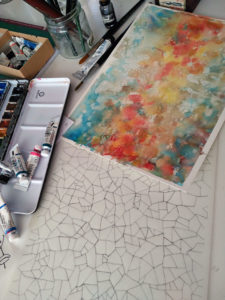 Watercolors painting as a base for the Gaudi Palau Guell Silk Scarf 3