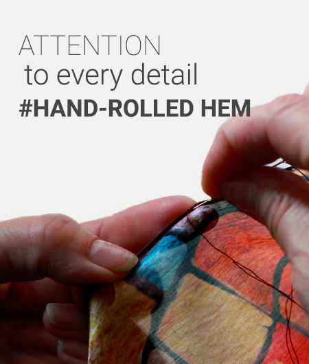 Hand-rolled hem silk scarves